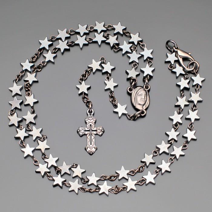 Бусы Rico La Carа, из натуральных камней гематита в форме звезд.