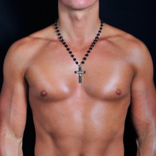 Мужские бусы с крестом. Украшение на шею. Rico La Cara.