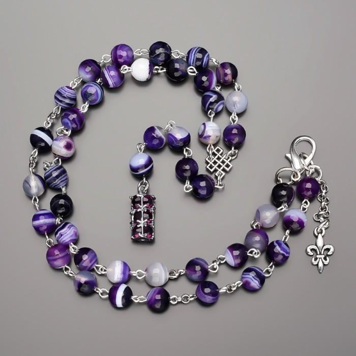 Бусы с камнями фиолетовый агат и подвеской из фианитов. Rico La Cara.