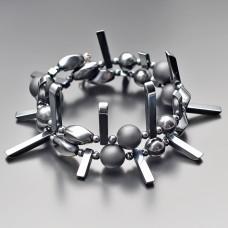 Дизайнерский браслет Rico La Cara из камней гематита и шунгита.