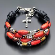 Кожаный браслет Rico La Cara с крестом.
