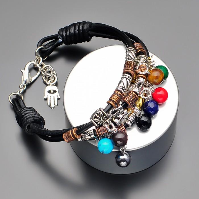 Кожаный браслет с использованием натуральных камней. Rico La Cara.