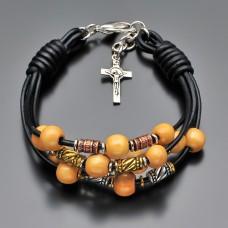 Кожаный браслет с крестом. Бижутерия Rico La Cara.