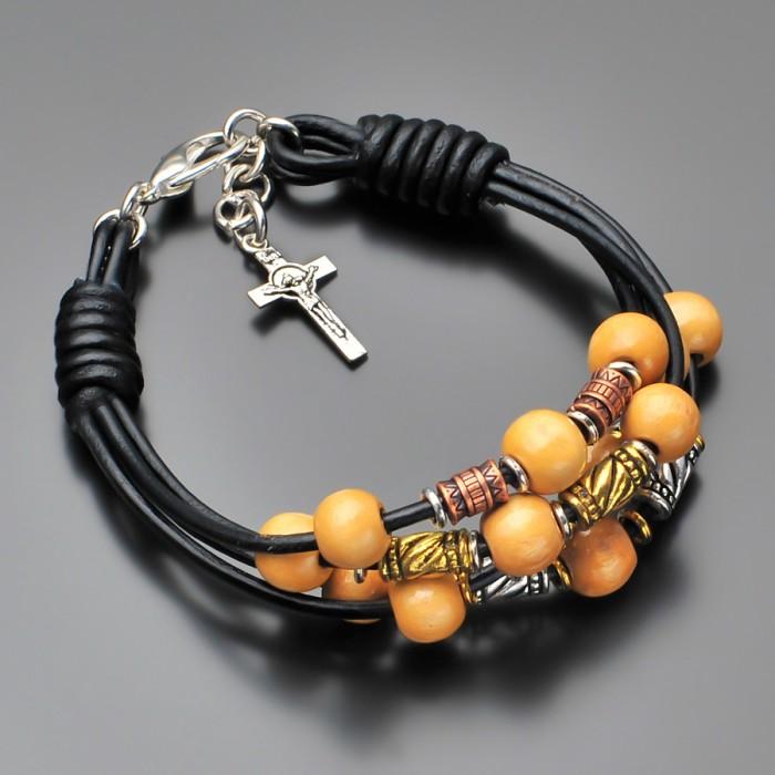 Кожаный браслет с крестом. Украшение на руку Rico La Cara.