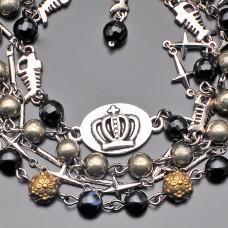 Дизайнерский браслет Rico La Cara из пирита и агата.