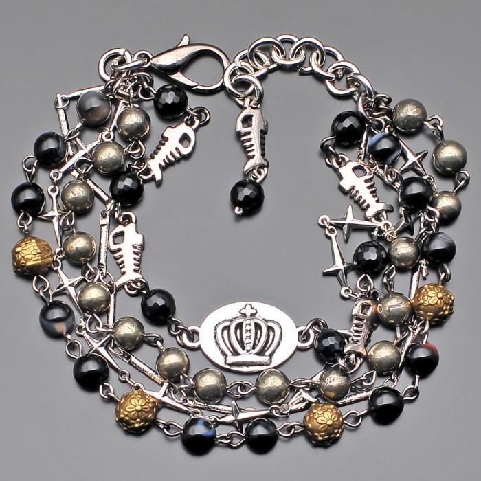 Дизайнерский браслет из камней пирита и агата. Rico La Cara.