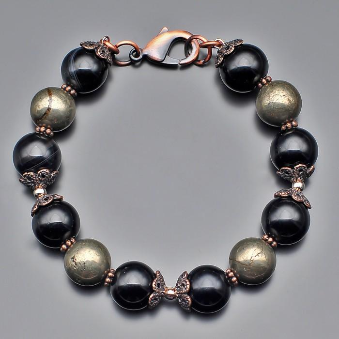 Мужской браслет из натурального желтого камня пирит. Rico La Cara.