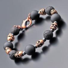 Мужской браслет Rico La Cara из черепов и камней шунгита, лавы.