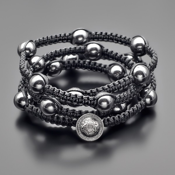 Шамбала. Массивный браслет из камней гематита. Бижутерия Rico La Cara.