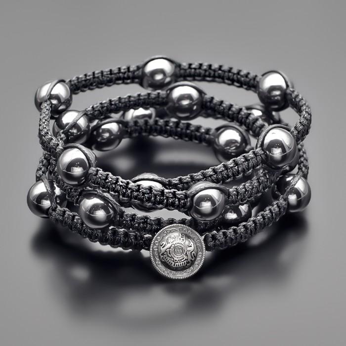Шамбала. Массивный браслет из камней гематита. Rico La Cara.