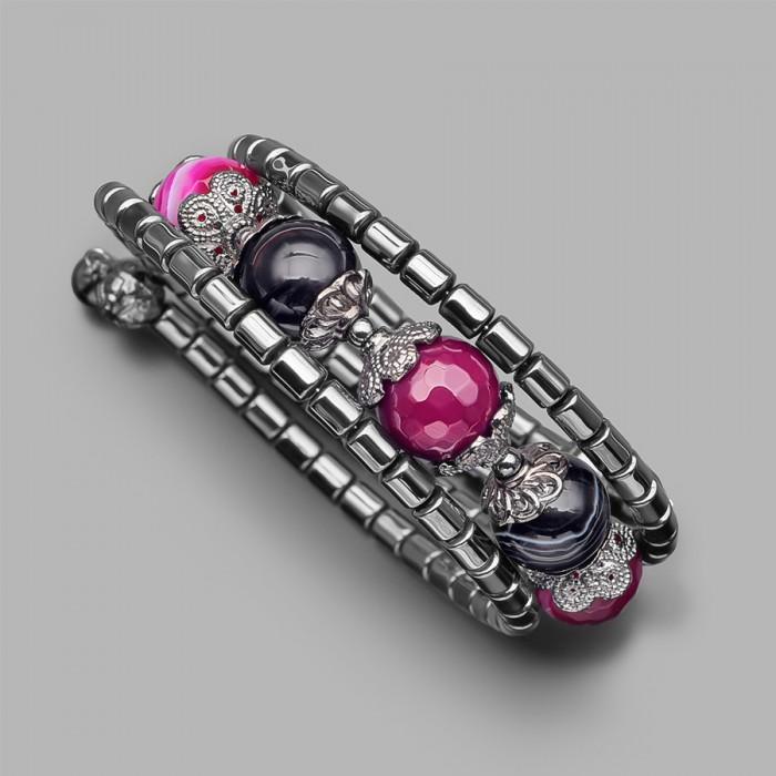 Женский браслет на руку с розовым агатом. Бижутерия Rico La Carа.