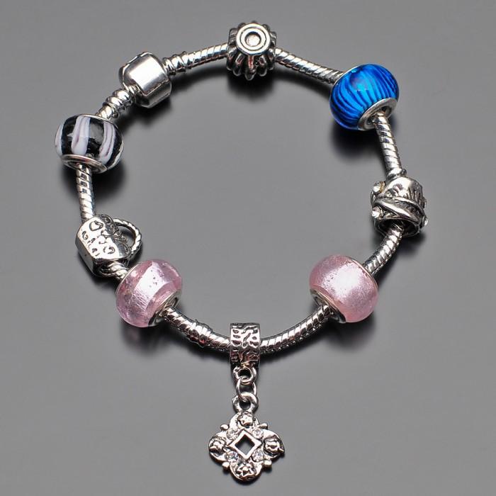Женский браслет в стиле Pandora. Шарм перламутр.