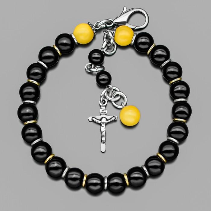 Браслет с крестом и камнями желтого оникса. Бижутерия Rico La Cara.