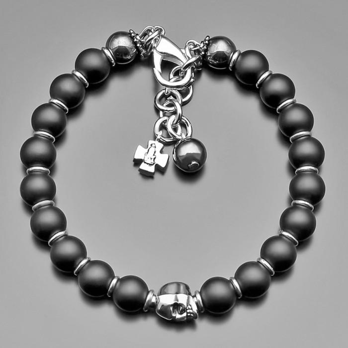 """Браслет из камней шунгита с металическим шармом в форме черепом """"Rico La Cara"""""""