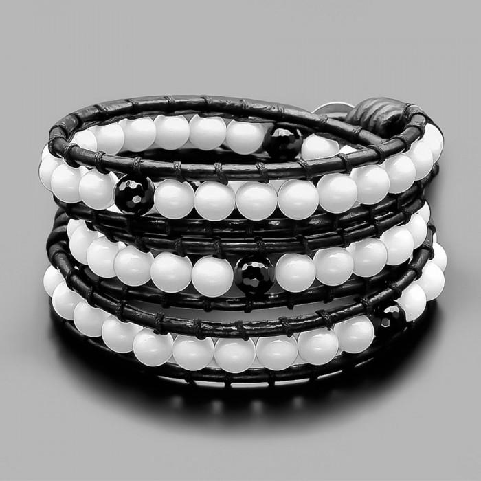 Белый агат. Кожаный браслет Rico La Cara в стиле Чан Лу.