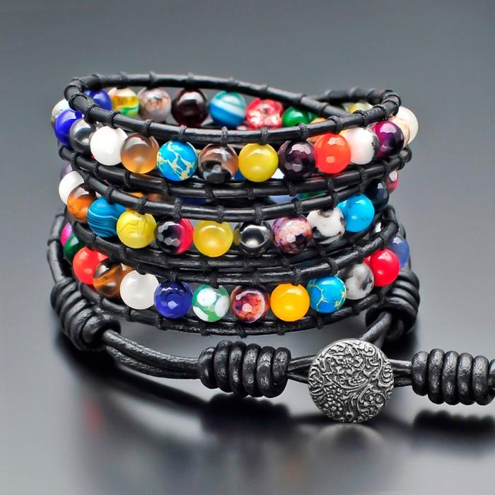 Rico La Cara кожаный браслет в стиле Chan Luu из полудрагоценных камней.