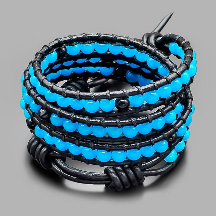 Кожаный браслет в стиле Chan Luu из камней оникса. Rico La Cara.