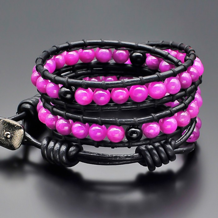 Оникс сиреневый. Женский браслет в стиле Chan Luu от дизайнеров Rico La Cara.