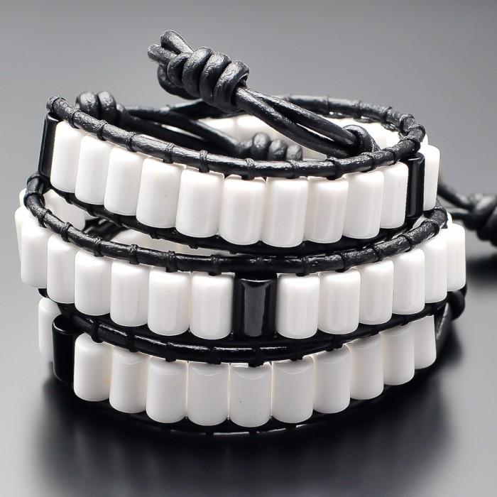 Мужской браслет в стиле Chan Luu. Белый агат. Украшение Rico La Cara.