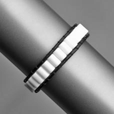 Кожаный браслет с белым агатом. Бижутерия из натуральных камней.