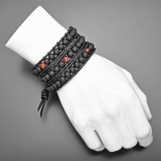 Кожаный браслет. Натуральная бижутерия из камней шунгита.