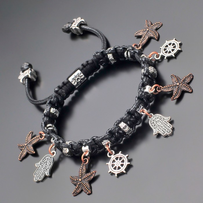 Плетеный браслет шамбала с подвесками, украшение Rico La Cara.