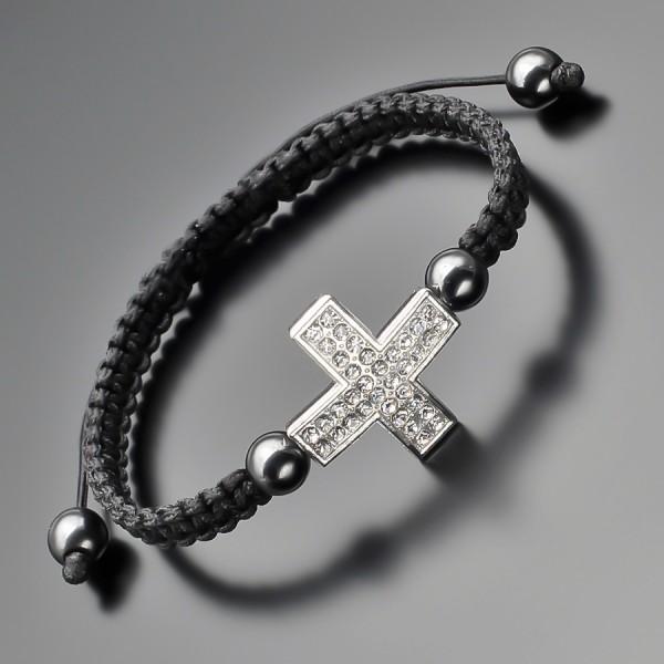 Украшение на руку, шамбала. Бижутерия с крестом из фианитов.