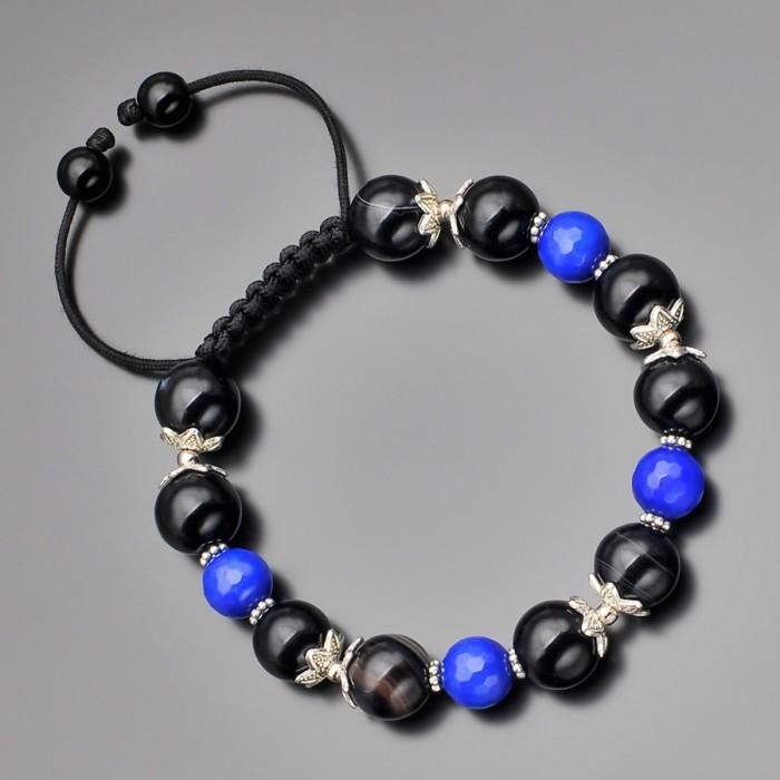 Браслет shambhala из камней синего и черного агата. Rico La Cara.
