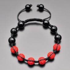 Браслет шамбала. Красные кристаллы. Бижутерия Rico La Cara.