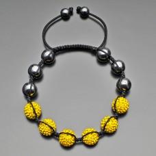 Браслет шамбала, гематит стальной, шармы с желтыми кристаллами. Rico La Cara.
