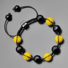 Браслет шамбала. Желтые кристаллы. Черный агат. Бижутерия Rico La Cara.
