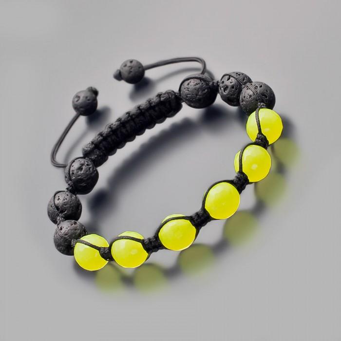 Шамбала на руку. Черная лава и желтый агат. Бижутерия Rico La Cara.