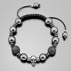 Браслет shambhala с черепом. Украшение из черной лавы. Бижутерия Rico La Cara.