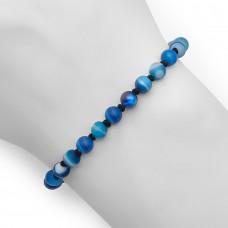 Браслет в стиле Anil Arjandas из натуральных камней синего агата.