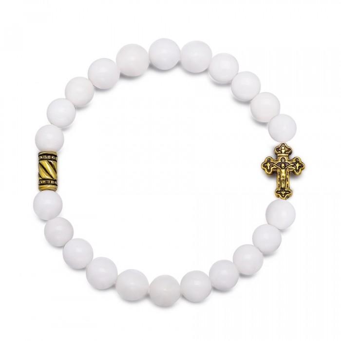 Браслет на резинке. Натуральный камень, белый агат с крестом.