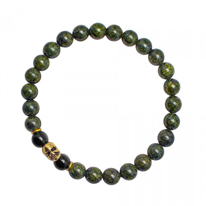 Браслет с черепом и натуральным камнем, зеленый змеевик.