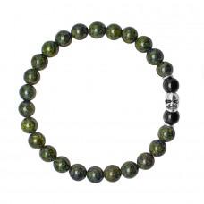 HOGER. Браслет на резинке с камнями темно зеленый змеевик.