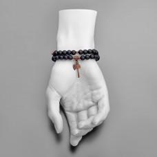 Дизайнерская бижутерия, браслет из черного шунгита, с подвеской томагавк.