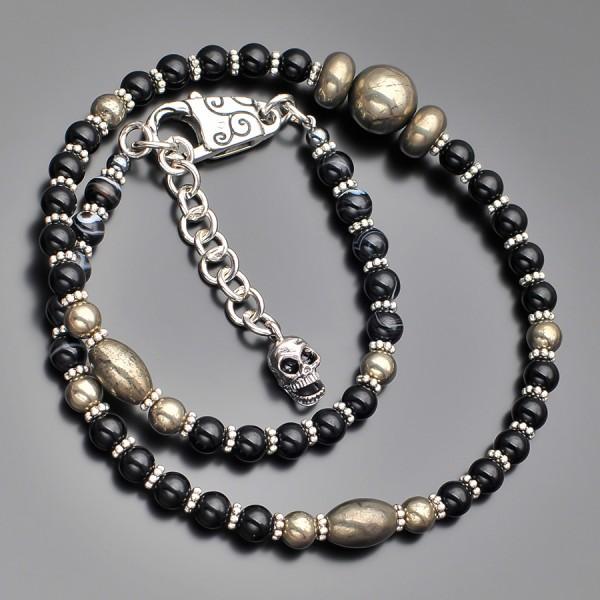Чокер с подвеской, ожерелье с камнями желтого пирита. Украшение на шею.