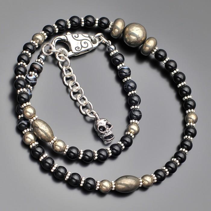 Чокер Rico La Cara в этническом стиле с натуральными камнями пирита.