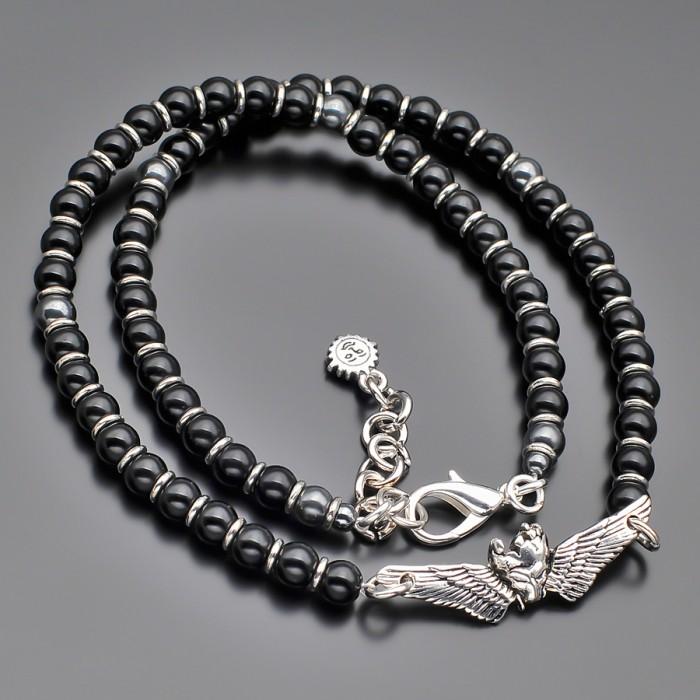 Чокер, украшение на шею с подвеской череп с крыльями. Rico La Cara.