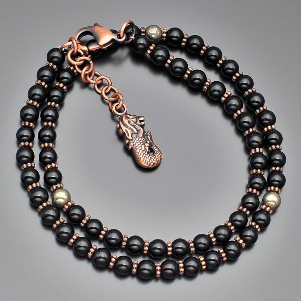 Дизайнерский чокер, ожерелье из черного марблита и желтого пирита.