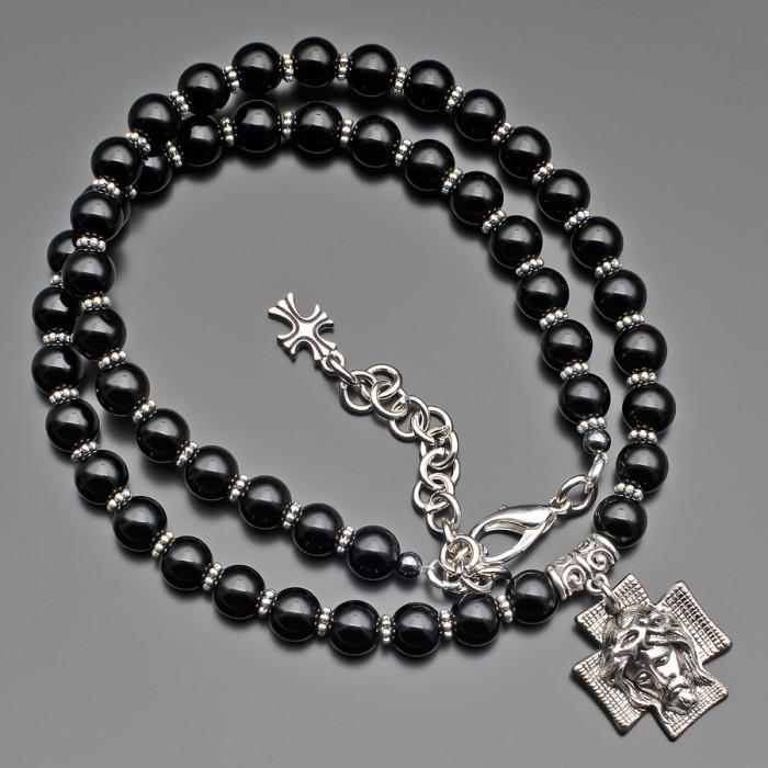 """Украшение на шею, с подвеской """"Иисус"""". Чокер из черного марблита."""