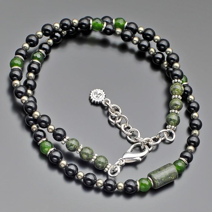 Дизайнерский чокер с камнями пирит, змеевик, зеленый агат. Rico La Cara.