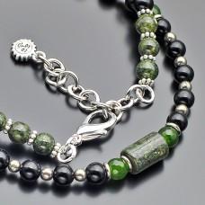 Чокер Rico La Cara. Ожерелье с камнями пирит, змеевик, зеленый агат.