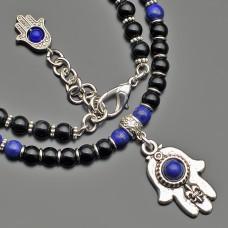 Чокер Rico La Cara. Ожерелье с камнями лазурита и подвеской Хамса.
