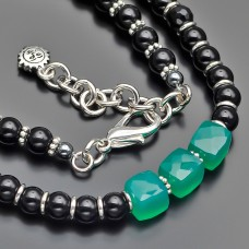Чокер Rico La Cara. Ожерелье с камнями малахит и зеленый хризопраз.