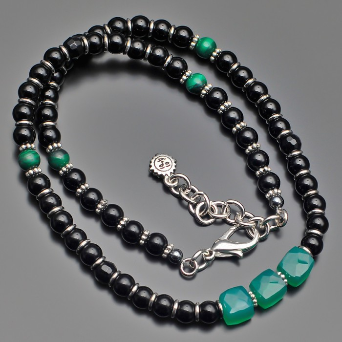 Чокер на шею с камнями малахит и зеленый хризопраз. Rico La Cara.