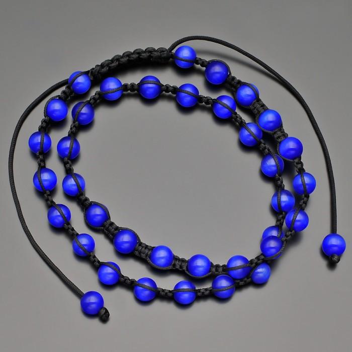 Чокер из синего кошачего глаза, с плетением шамбала. Rico La Cara.