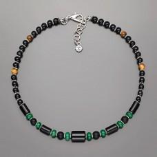 Чокер Rico La Cara. Ожерелье с камнями зеленого агата.